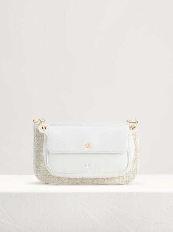 Tweed Double Flap Shoulder Bag, White, hi-res
