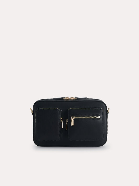 Leather Boxy Bag, Black, hi-res