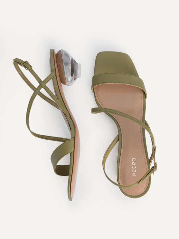 Strappy Sandals with Ornament Heels, Olive, hi-res