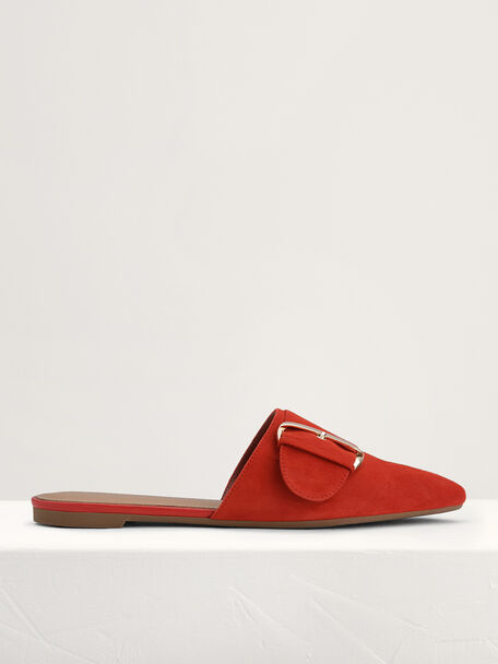 Suede Buckled Mules, Red, hi-res