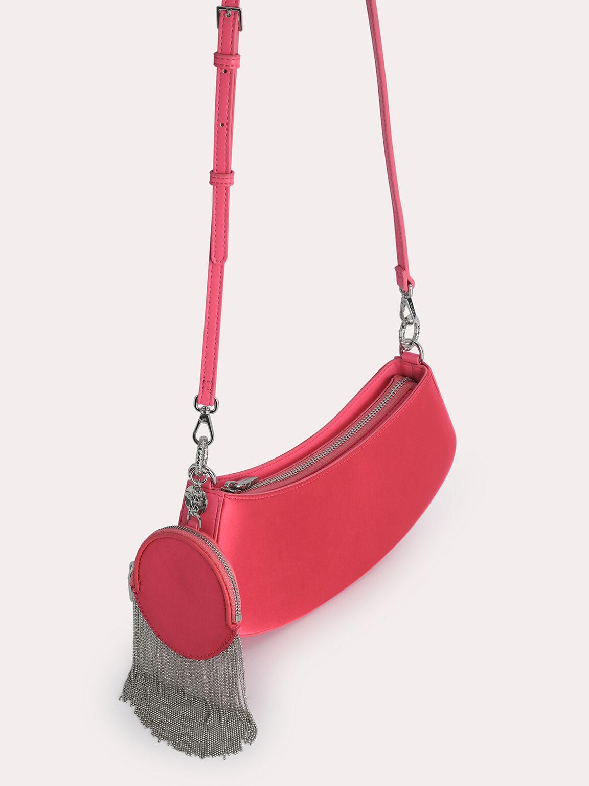 Satin Shoulder Bag, Coral, hi-res
