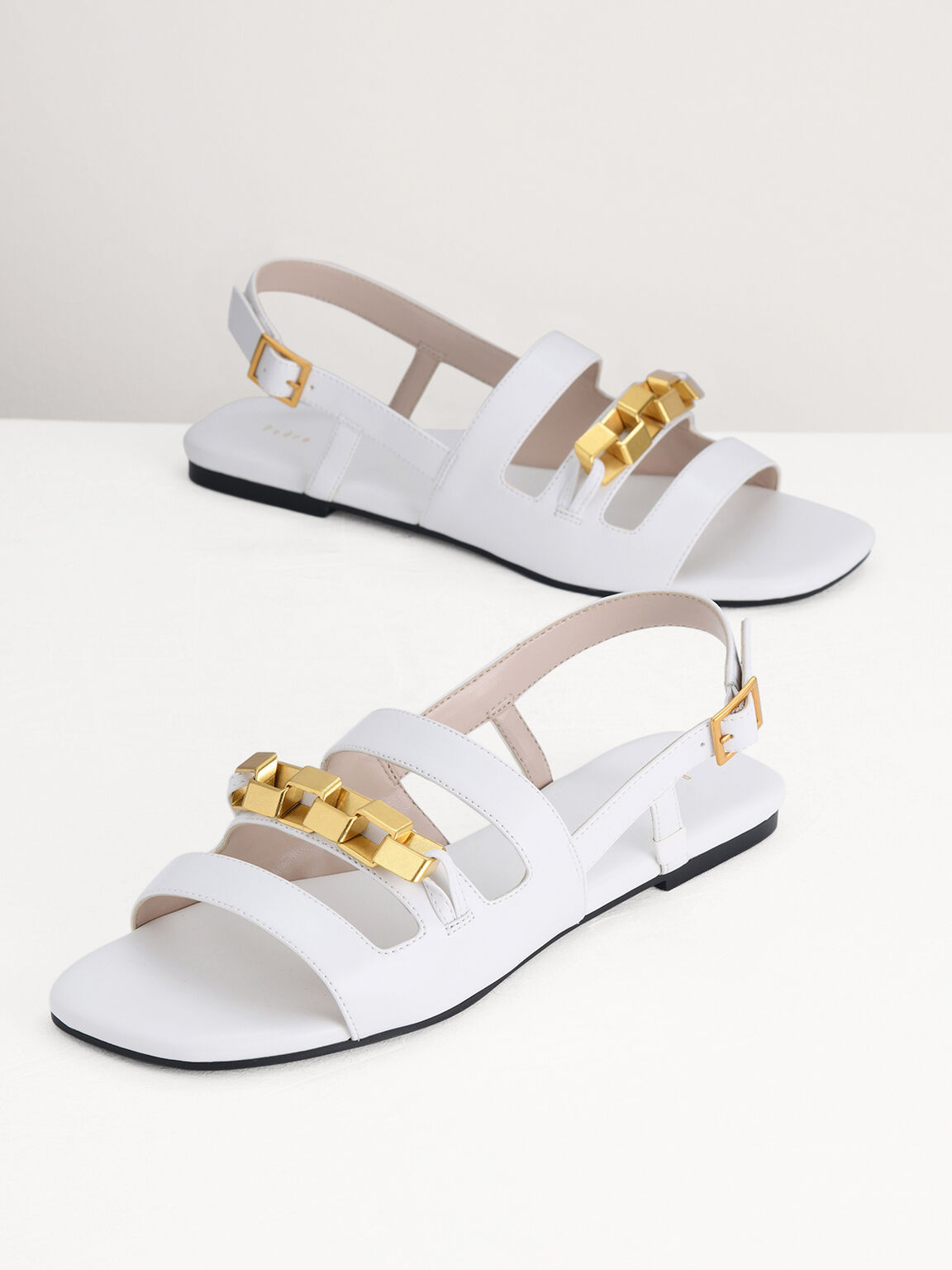 Gold Embellished Slingback Sandals, White, hi-res