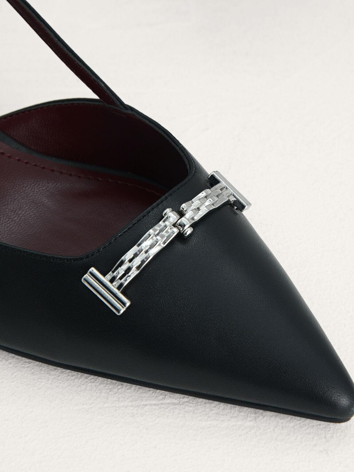 Plaque-Embellished Leather Slingback Pumps, Black, hi-res