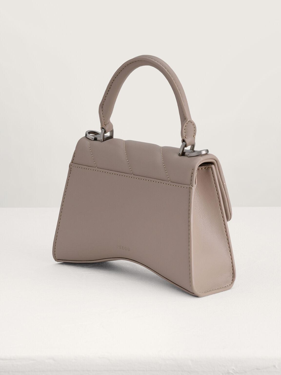 Qulited Top Handle Bag, Taupe, hi-res
