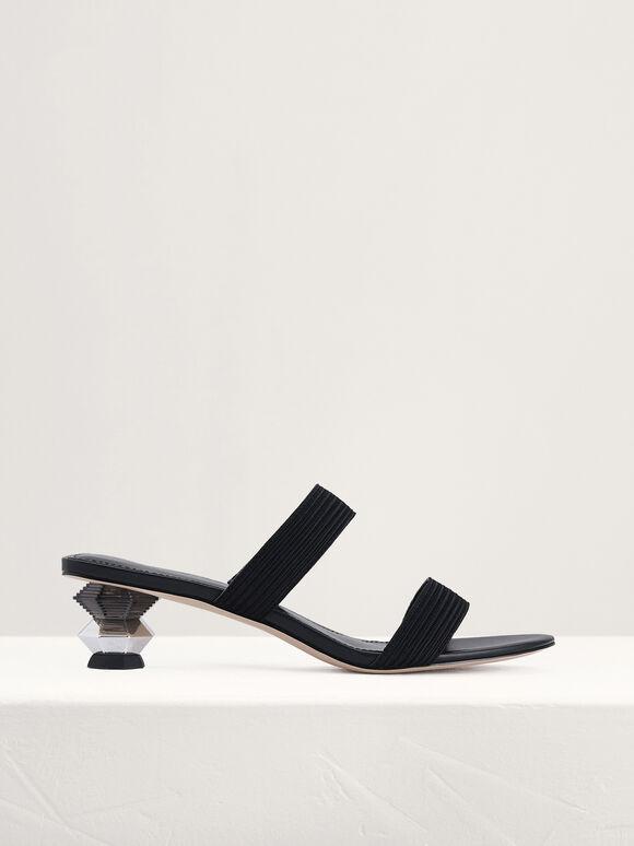 Geometric Heeled Sandals, Black, hi-res