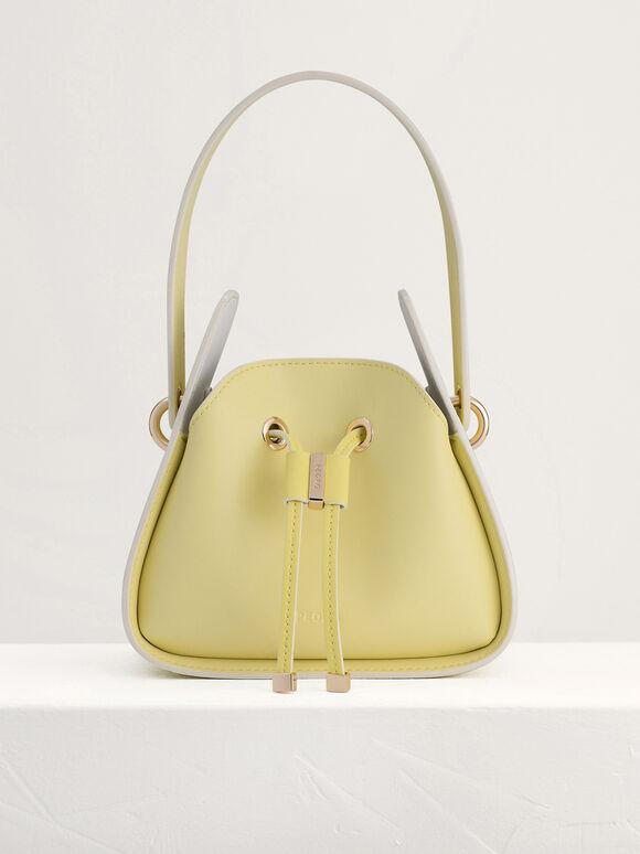 Drawstring Bucket Bag, Yellow, hi-res