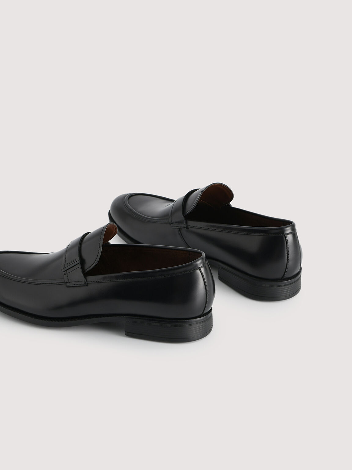 Lightweight Leather Loafers with Embelishment, Black, hi-res