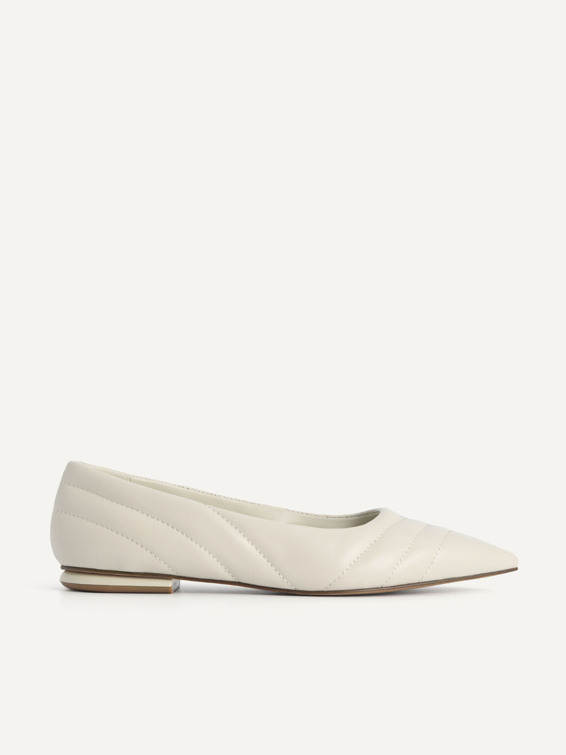 Pointed Toe Leather Flats, Chalk, hi-res
