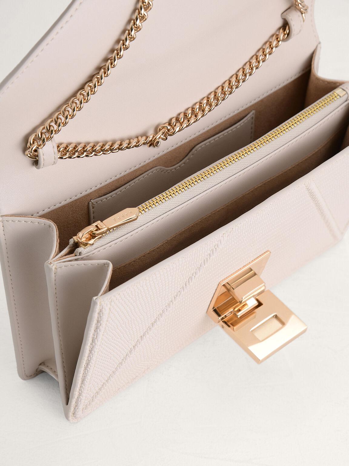 Lizard-Effect Leather Shoulder Bag, Taupe, hi-res