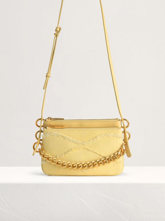 Chain-embellished Mini Shoulder Bag, Yellow, hi-res