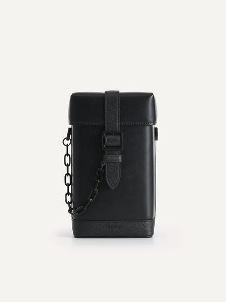 Boxy Chain Crossbody Bag, Black, hi-res
