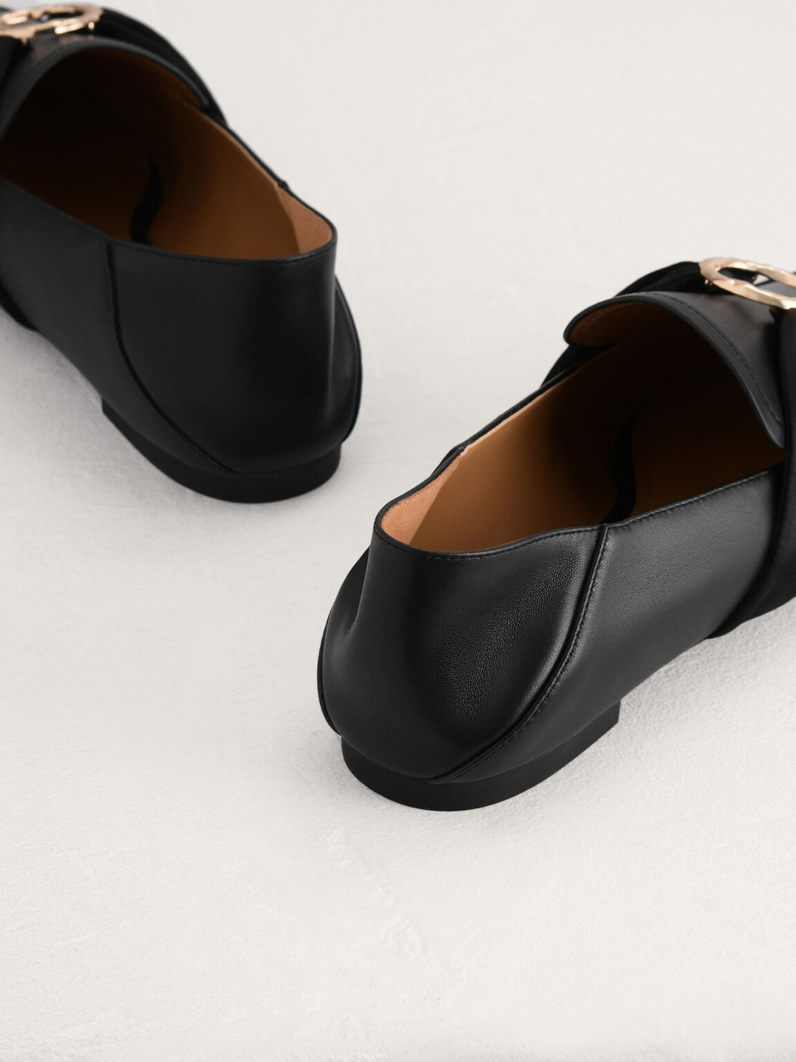 Leather Loafers with Twill Detailing, Black, hi-res