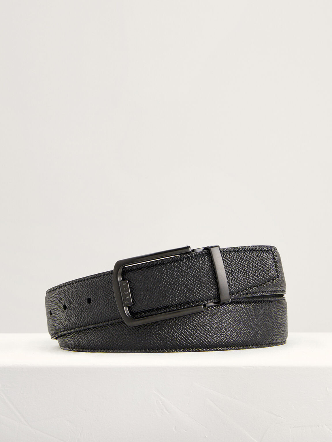 Embossed Leather Tang Belt, Black, hi-res