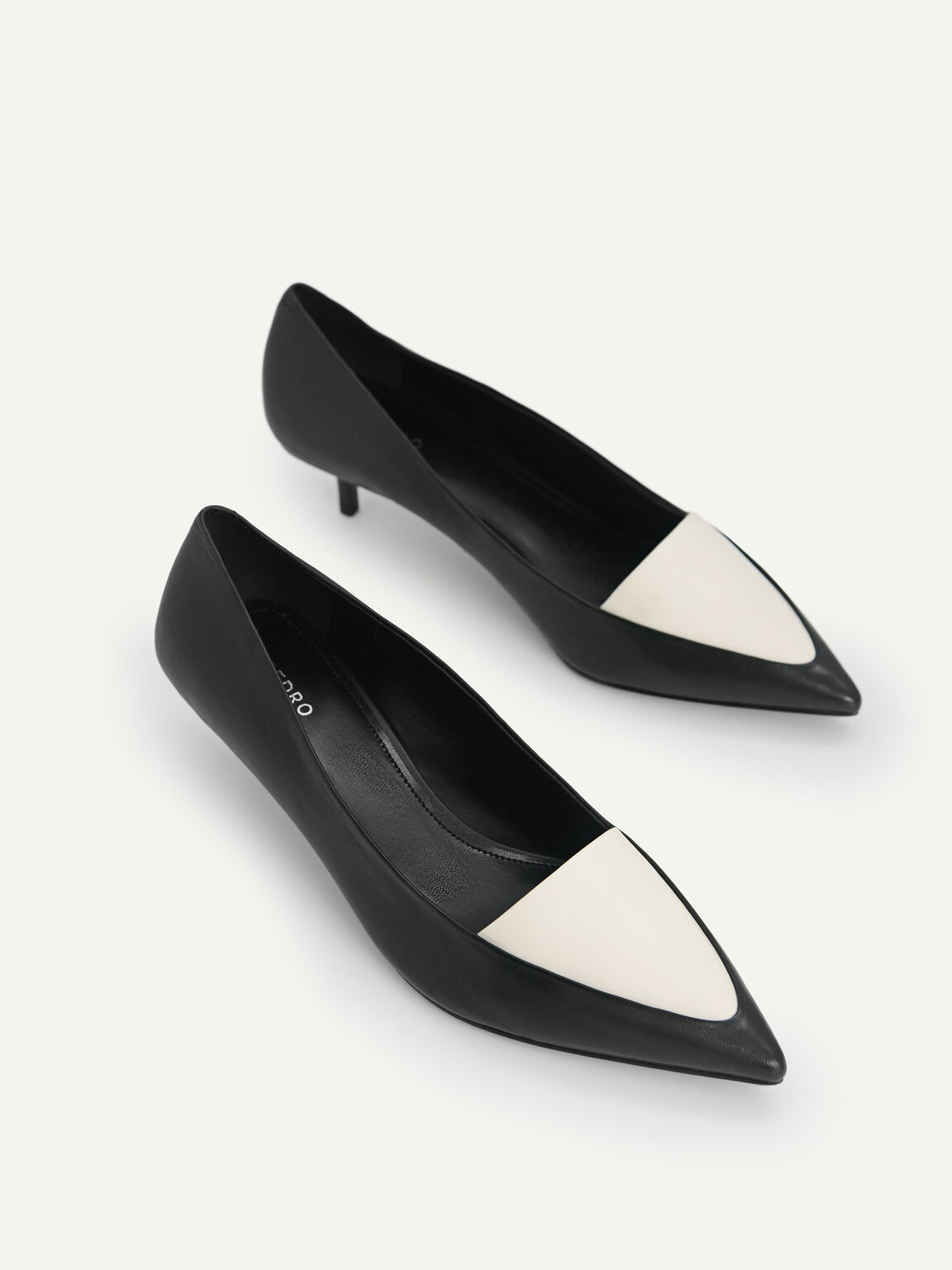 Leather Pointed Toe Pumps, Black, hi-res