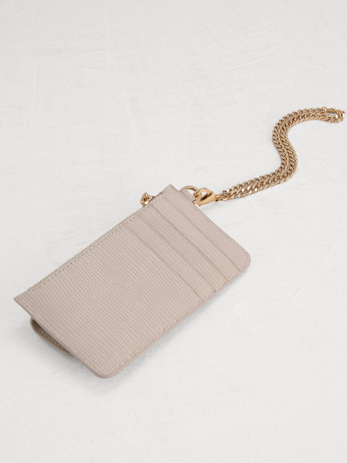 Lizard-Effect Leather Card Holder, Chalk, hi-res