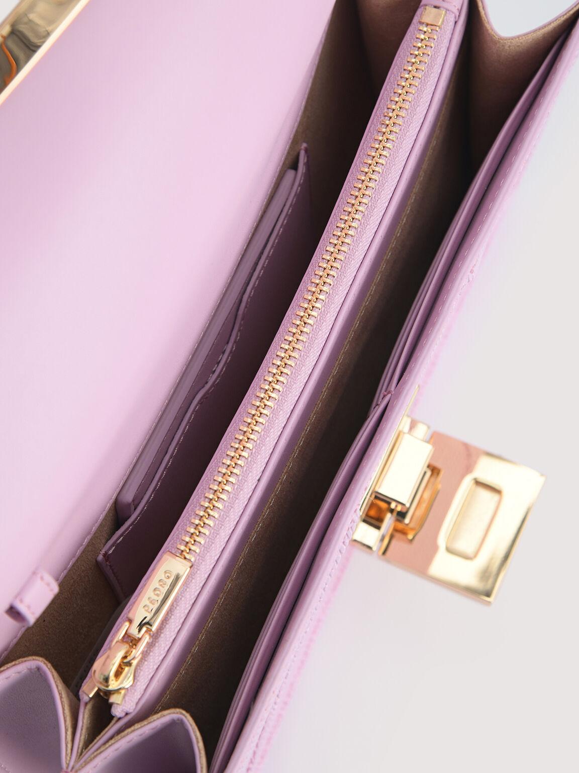 Lizard-Effect Leather Envelope Travel Organizer, Lilac, hi-res