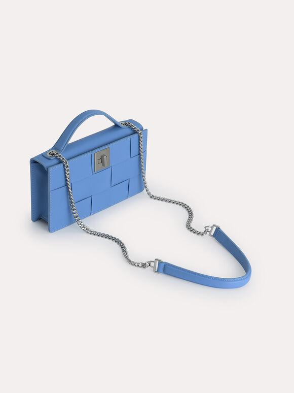 Leather Travel Organiser, Blue, hi-res