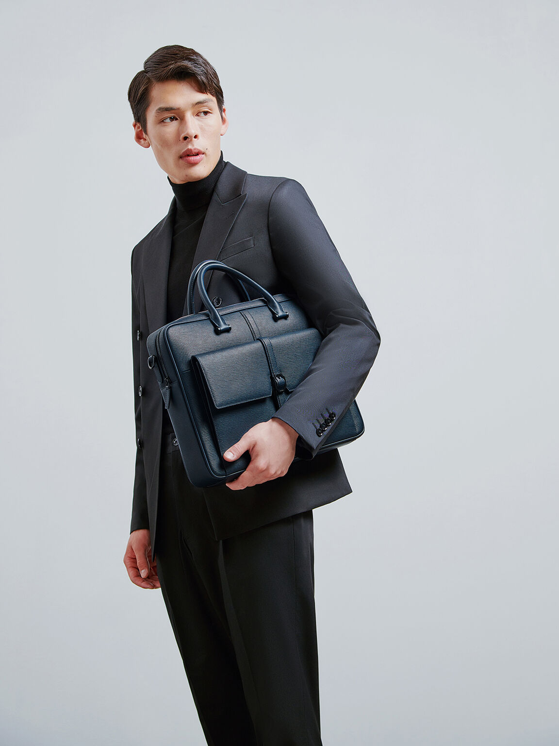 Leather Briefcase with Buckle Detail, Navy, hi-res