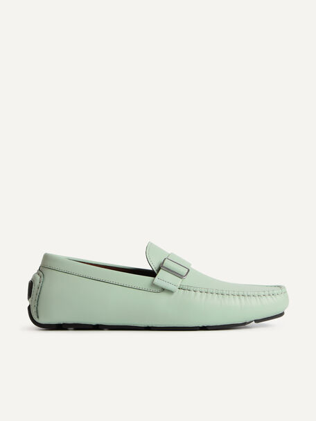 Leather Moccasins with Buckle Detail, Light Green, hi-res