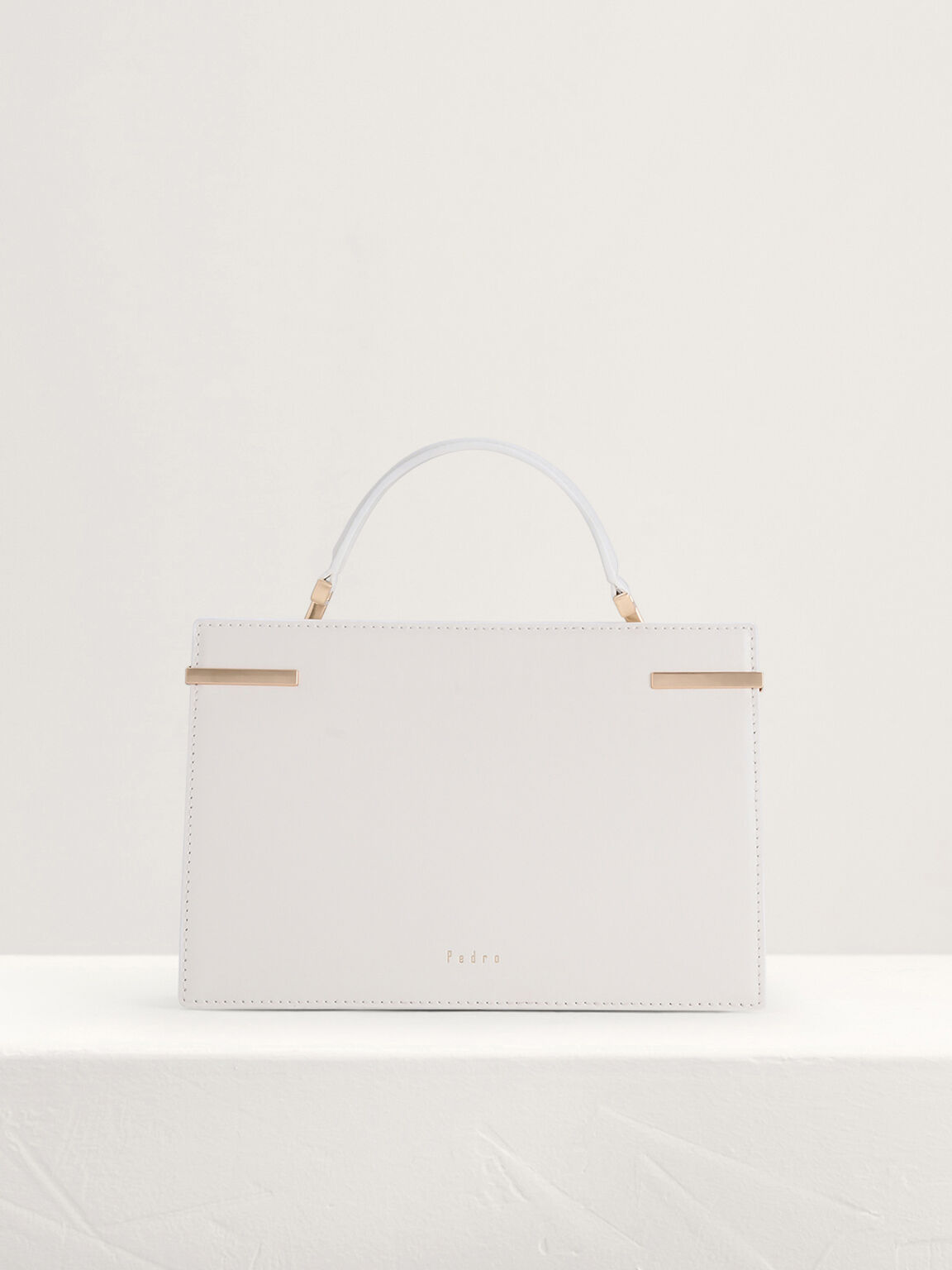 Mini Top Handle Leather Bag, Chalk, hi-res