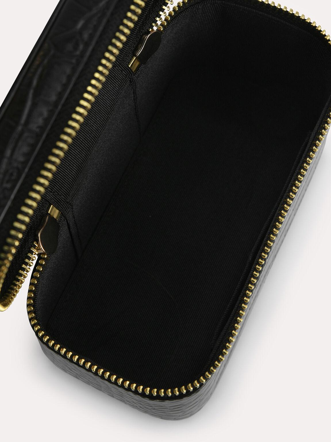 Textured Leather Vanity Case, Black, hi-res