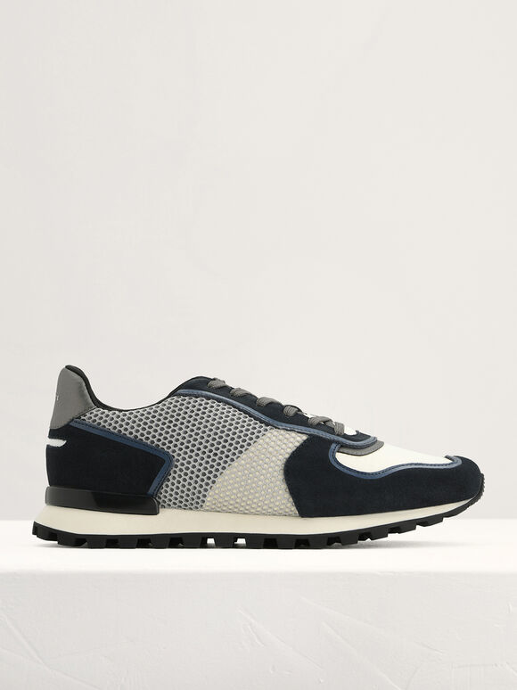 Suede and Mesh Runners, Navy, hi-res