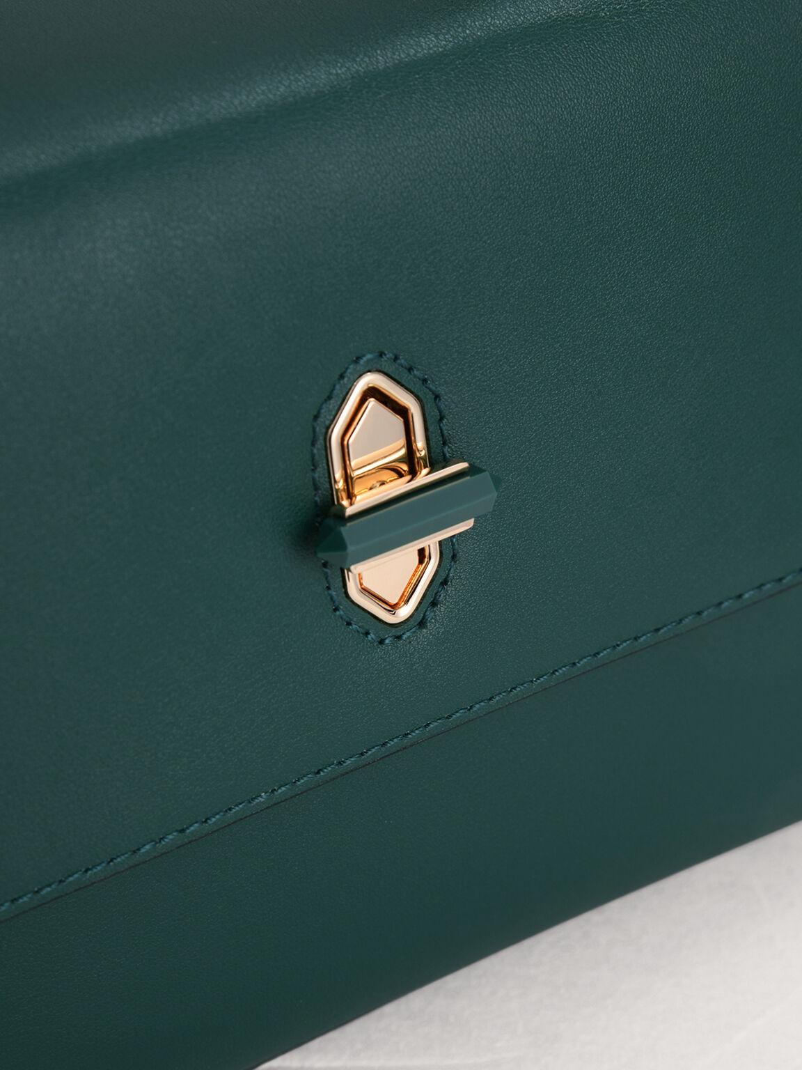 Mini Top Handle Leather Bag, Green, hi-res