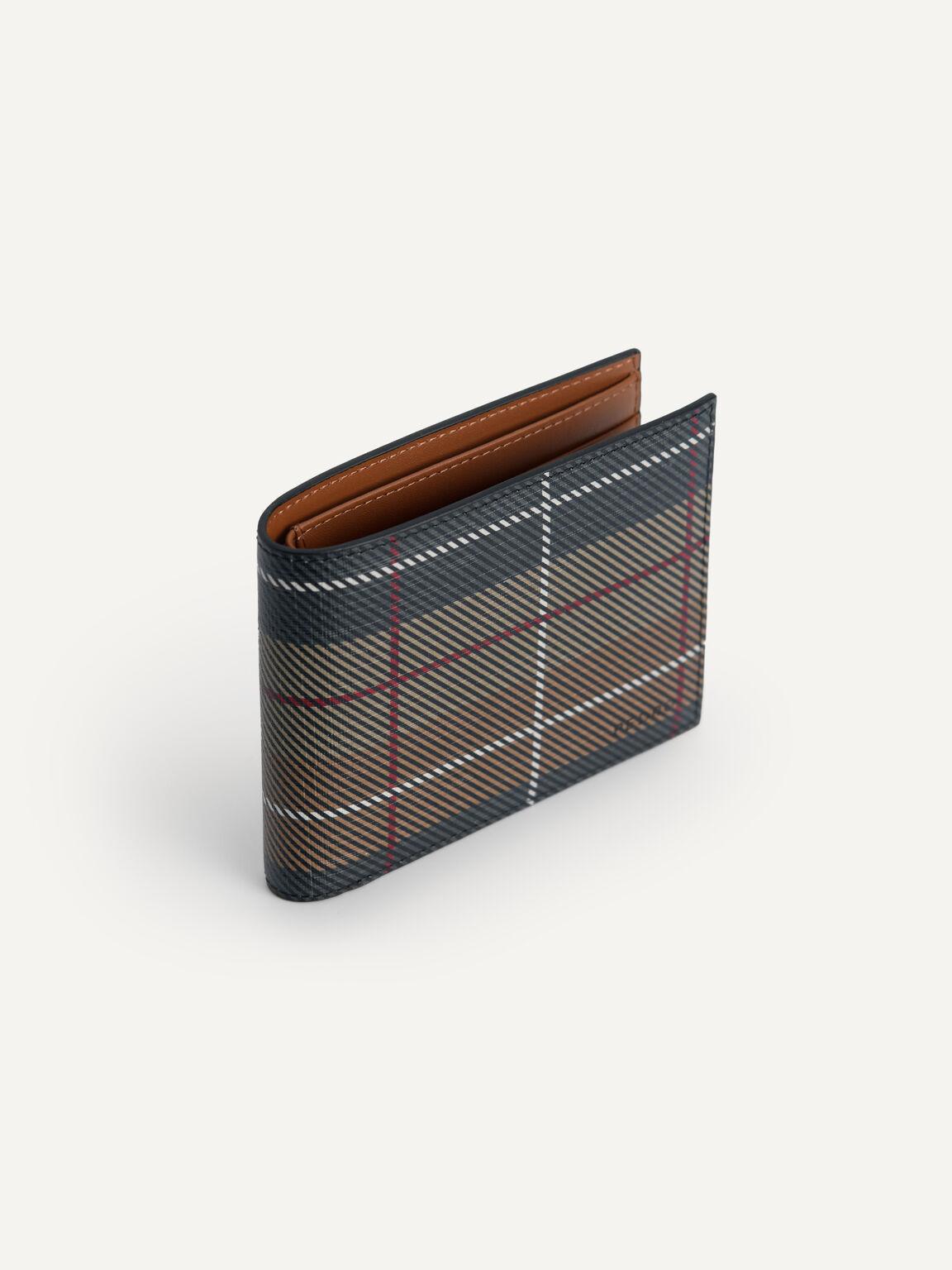 織紋雙折疊皮革錢包, 彩色, hi-res
