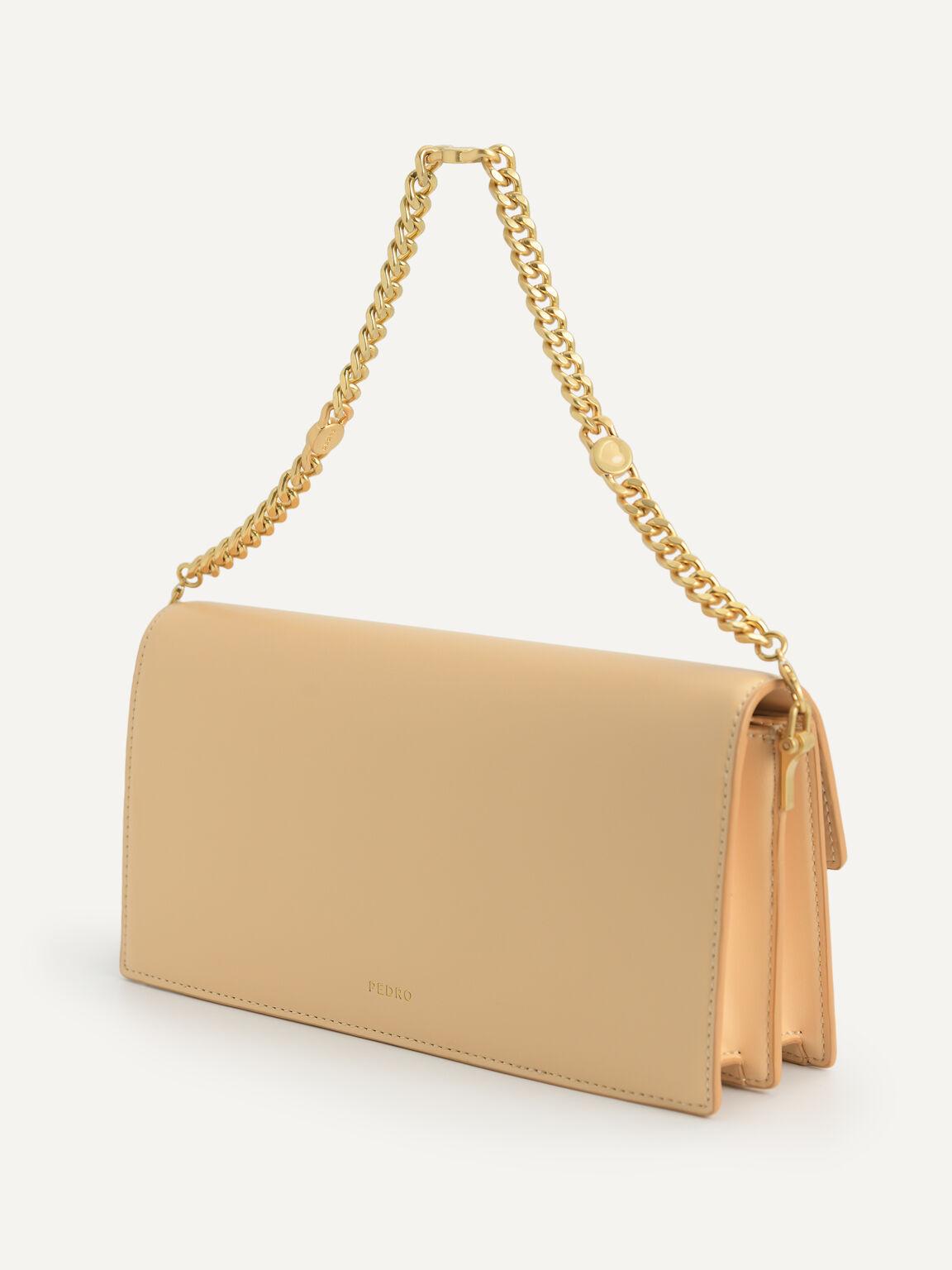 Shoulder Bag with Heart Clasp, Nude, hi-res