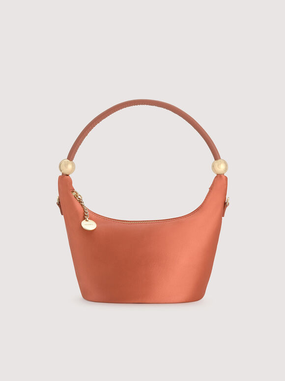 Satin Crescent Top Handle Bag, Coral, hi-res
