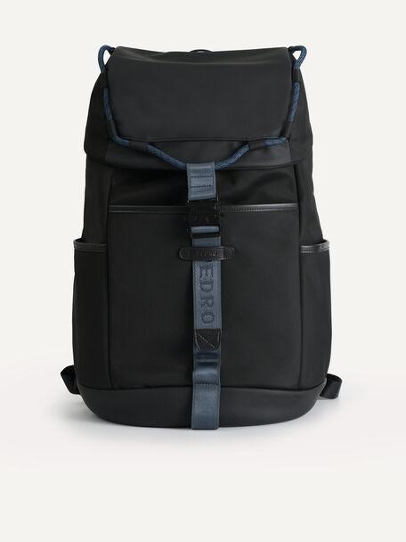 Utilitarian Drawstring Backpack, Black, hi-res