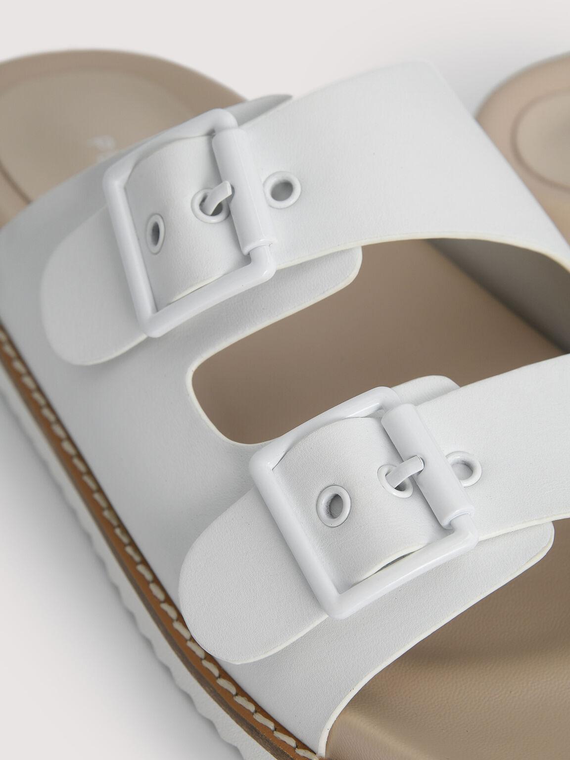 Double Strap Sandals, White, hi-res