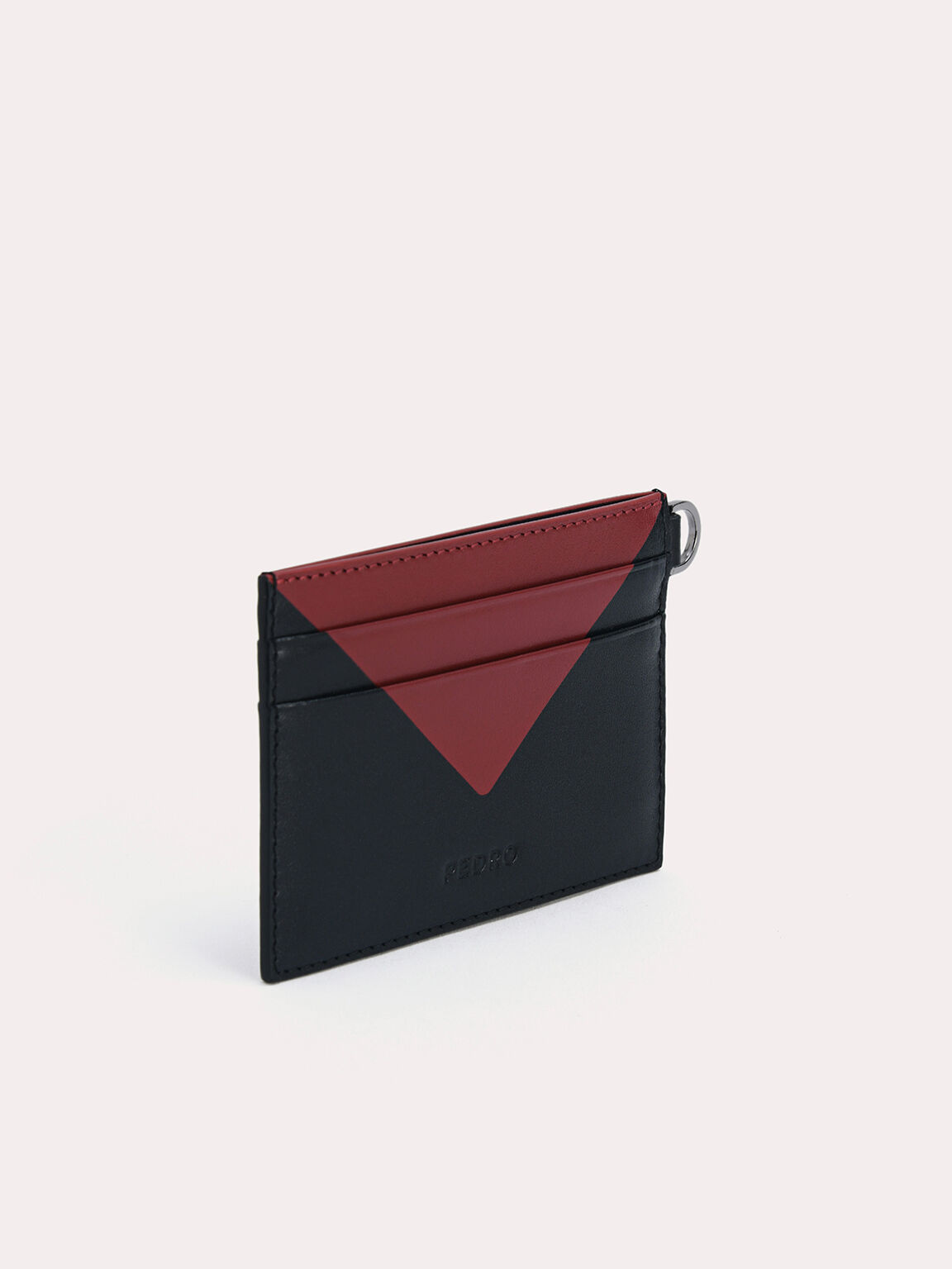 三色皮革卡包, 黑色, hi-res