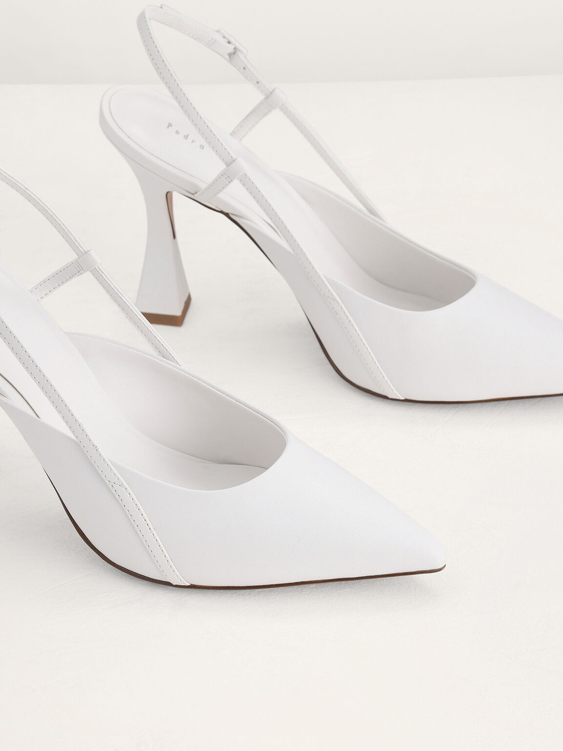 Leather Slingback Pumps, White, hi-res