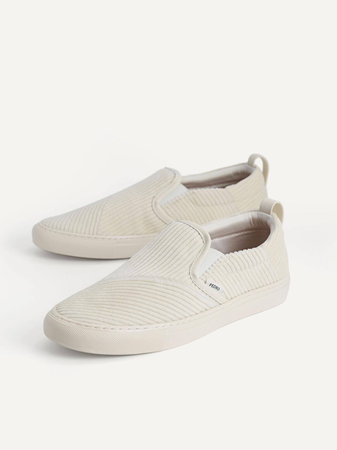 Corduroy Slip-On Sneakers, Beige, hi-res