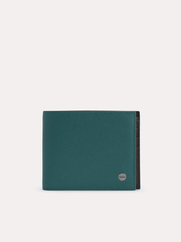 Leather Bi-Fold Wallet with Insert, Dark Green, hi-res