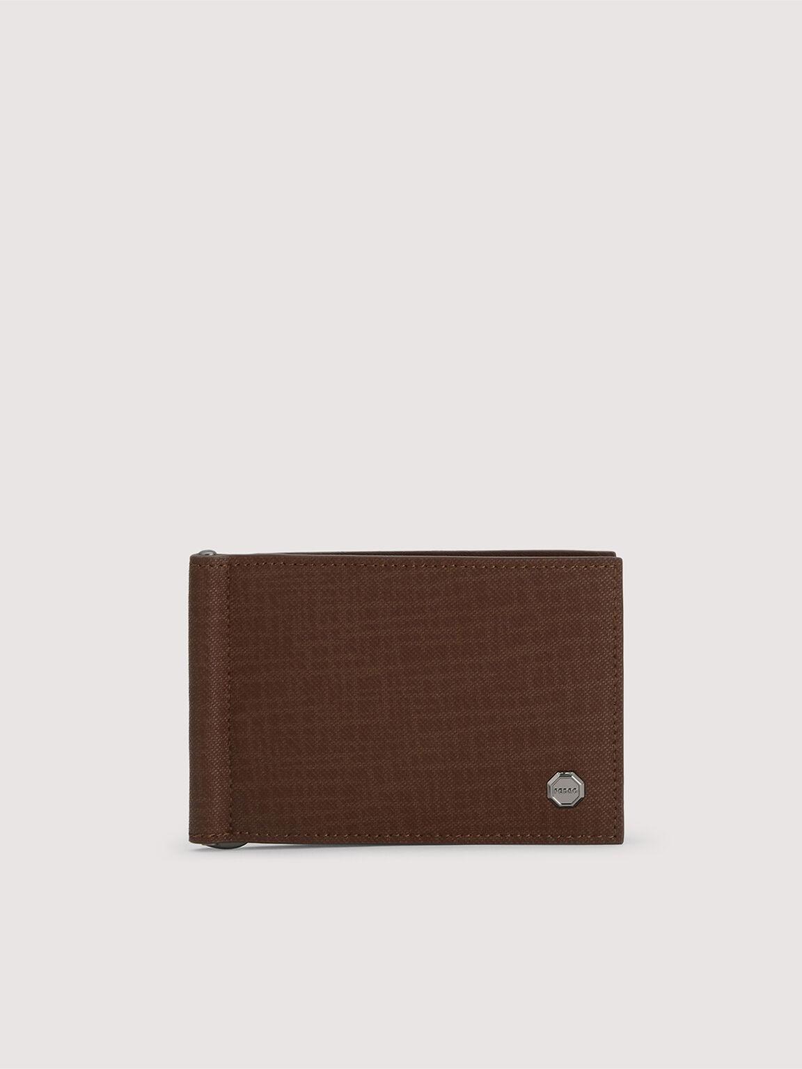 Leather Bi-Fold Cardholder with Money Clip, Brown, hi-res
