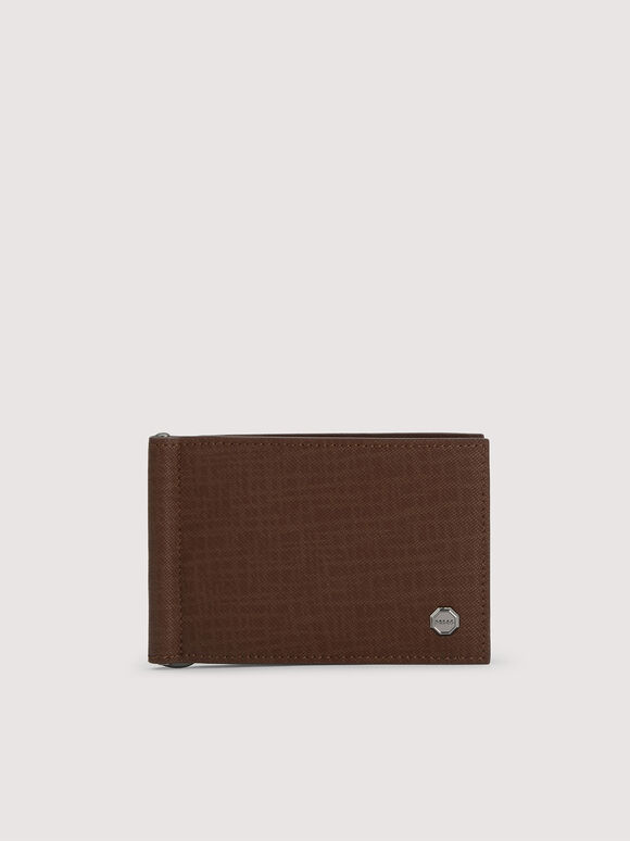 Leather Bi-Fold Cardholder with Money Clip, Brown, hi-res