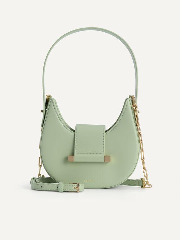 Crescent Shoulder Bag, Light Green, hi-res