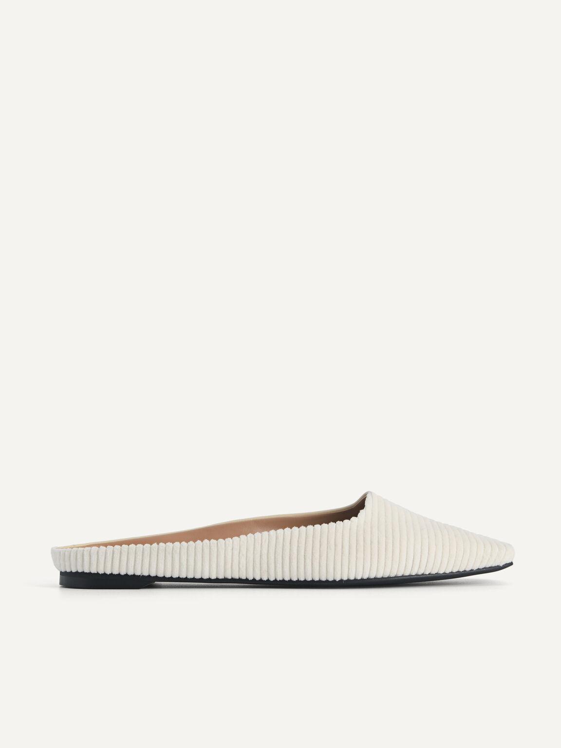 Corduroy Slip-On Flats, Beige, hi-res