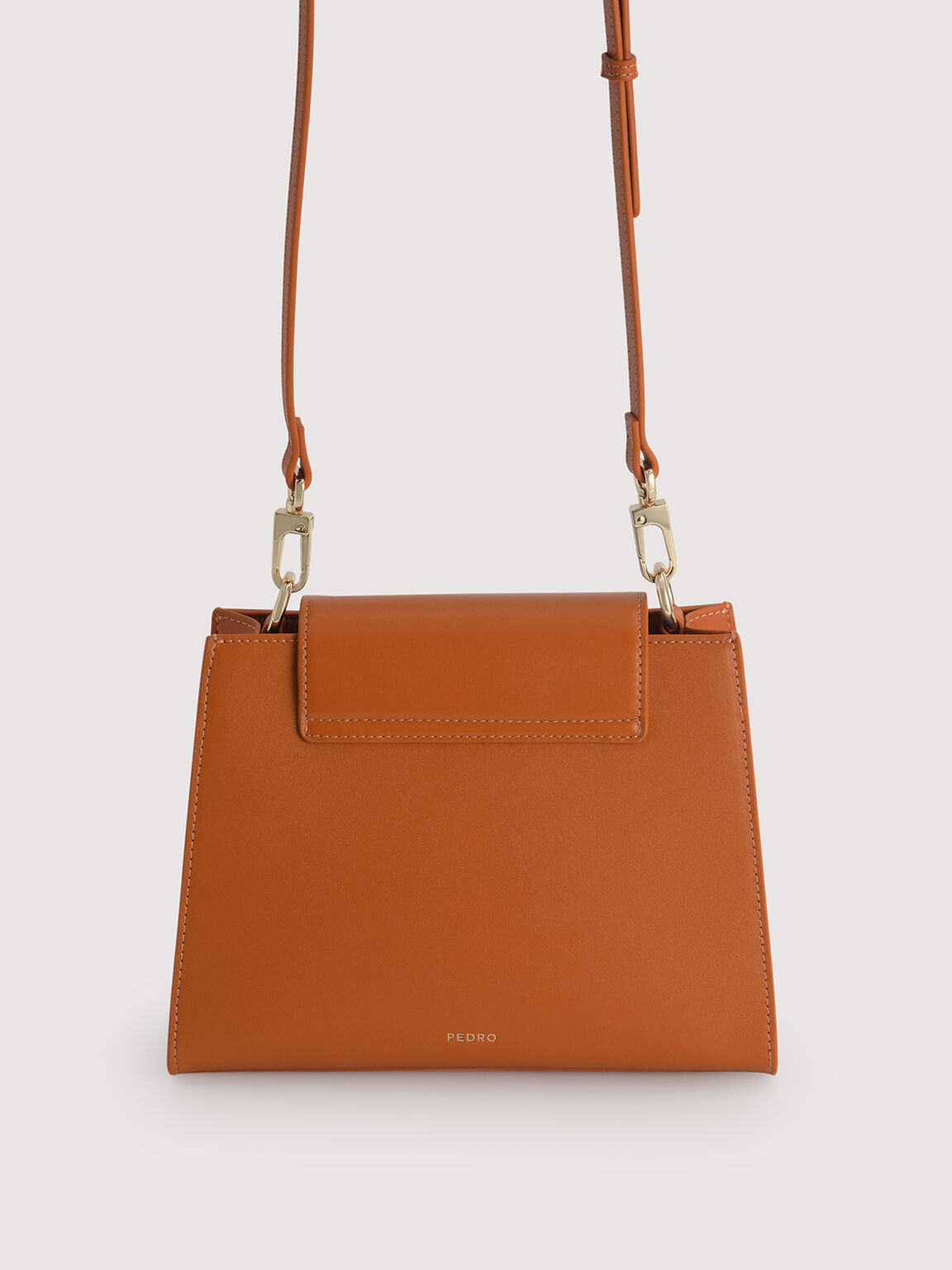 Leather Top Handle Bag with Pearl Strap, Orange, hi-res