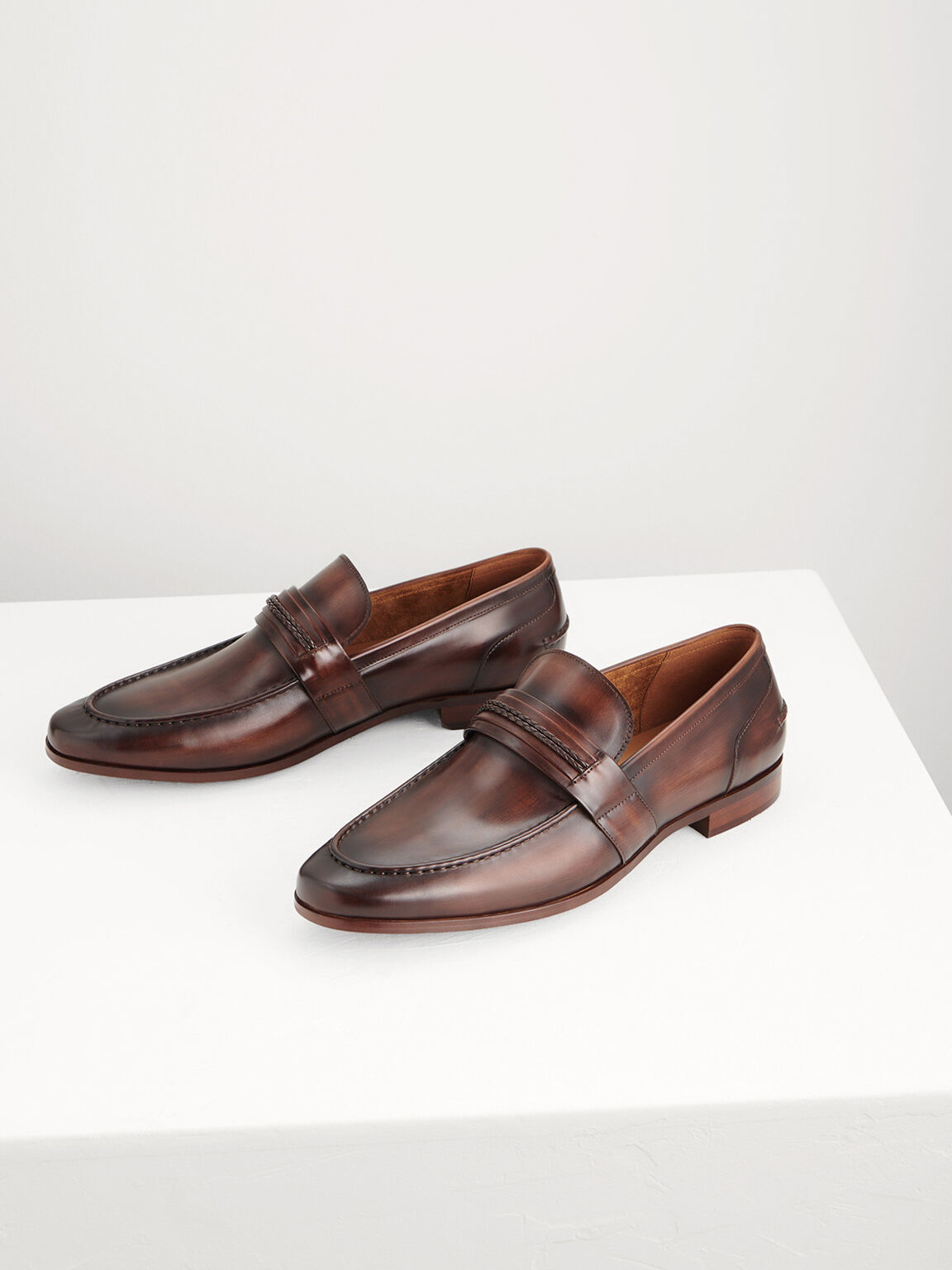 Rope Detailed Leather Loafers, Light Brown, hi-res