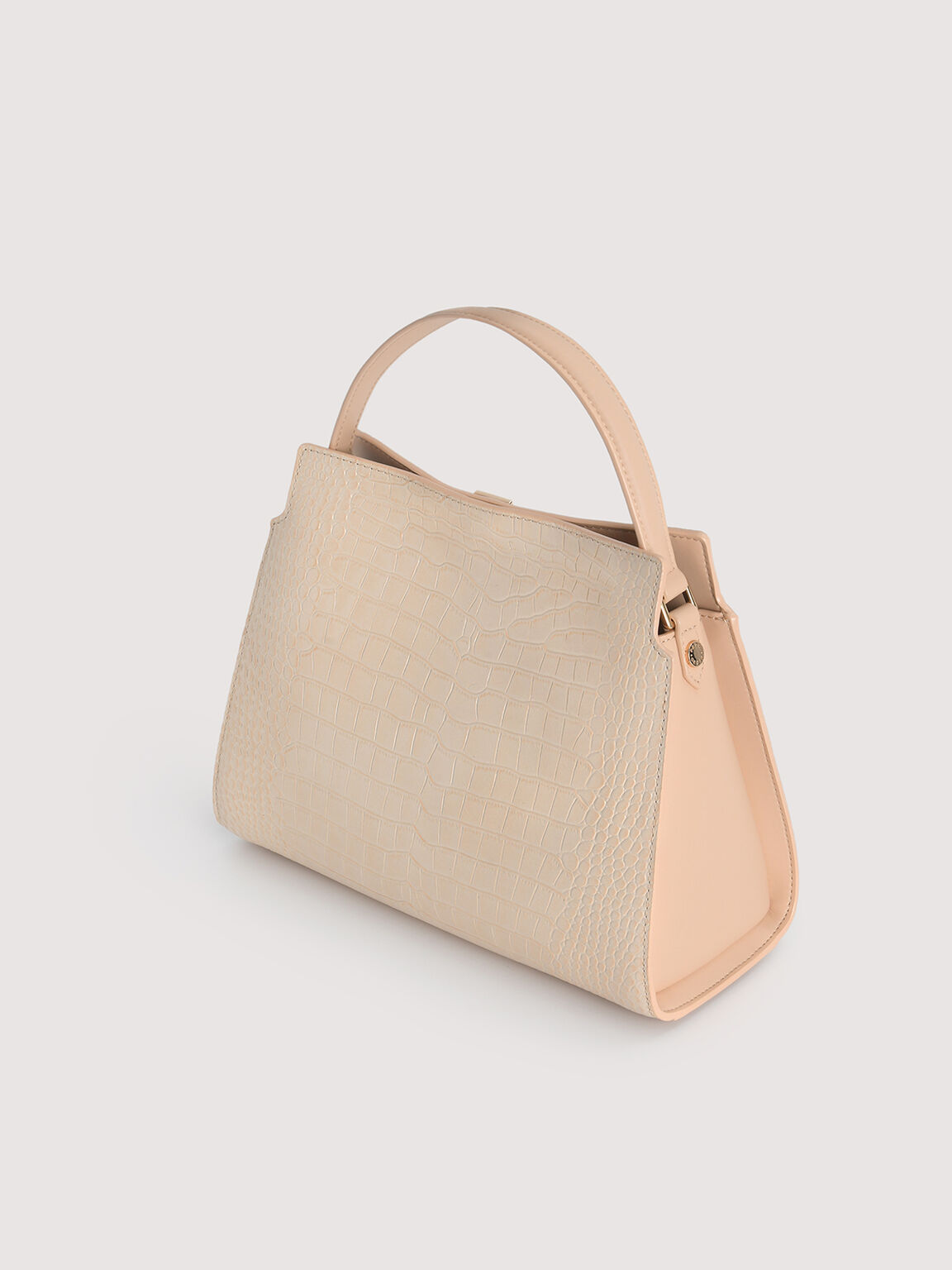Embossed Leather Top Handle, Nude, hi-res