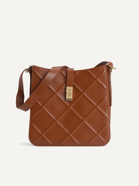 Quilted Hobo Bag, Cognac, hi-res