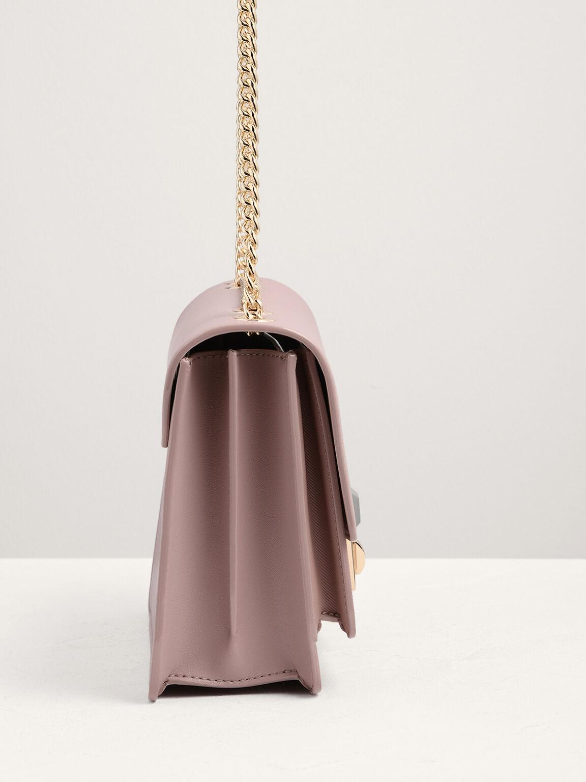 Structured flap shoulder bag, Nude, hi-res