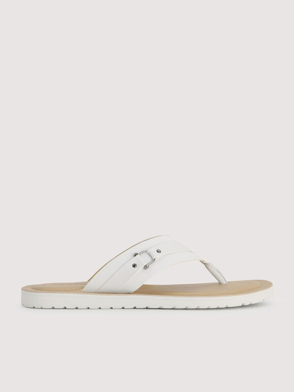 Thong Sandals with Metal Bit, White, hi-res