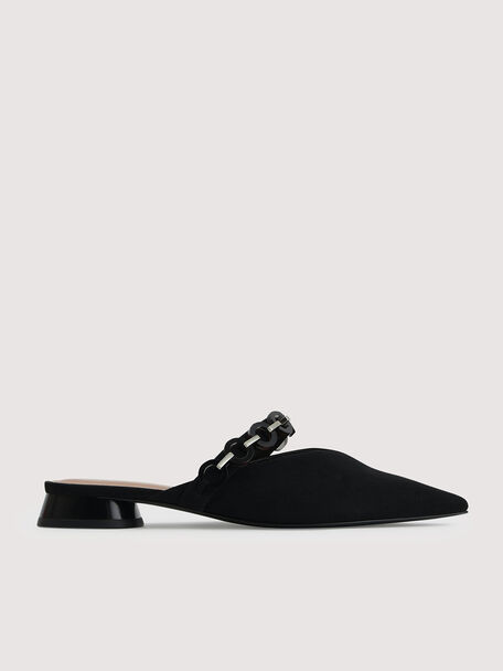 Mules with Acrylic Chain Embelishment, Black, hi-res