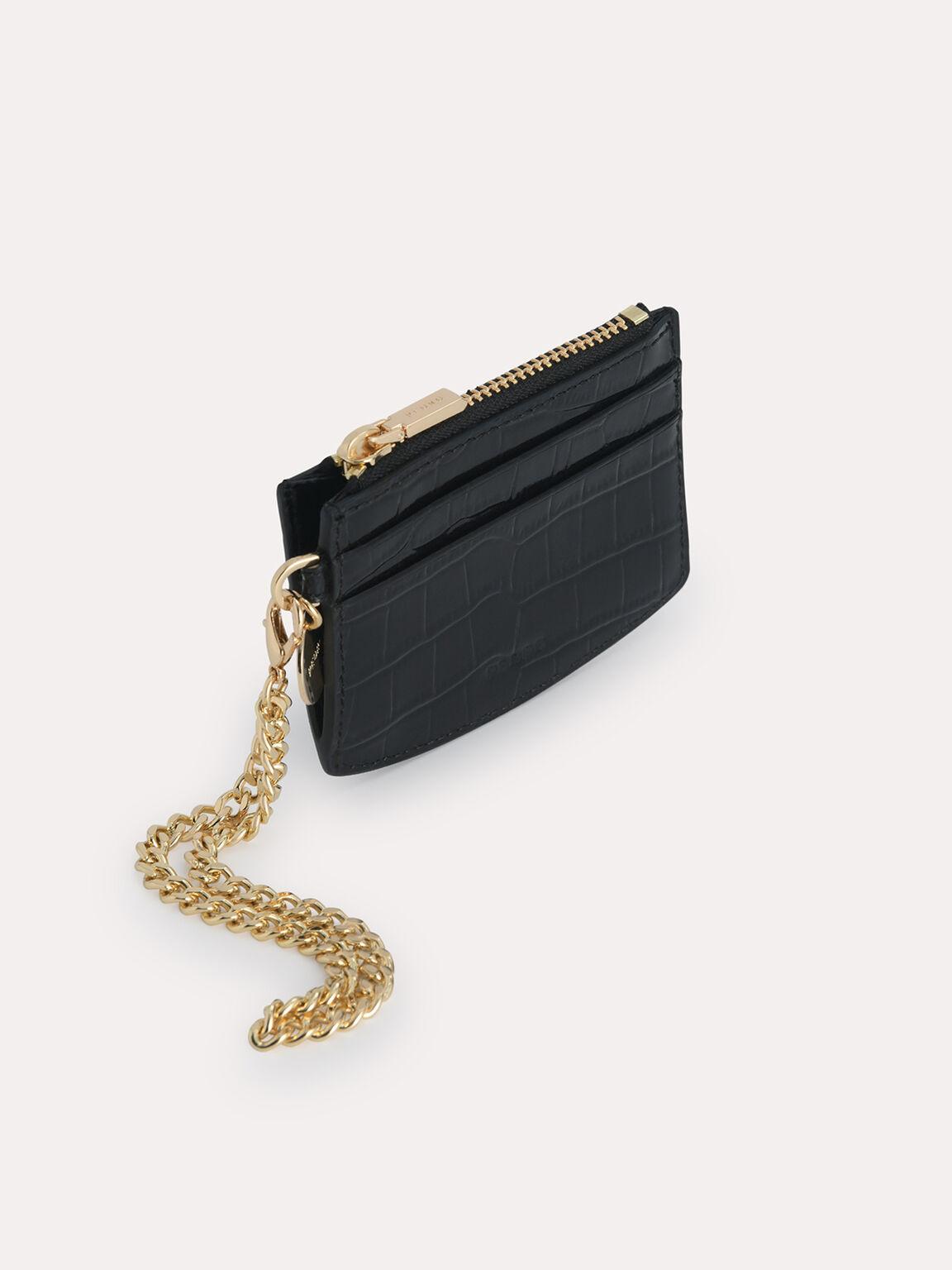 Textured Leather Cardholder, Black, hi-res