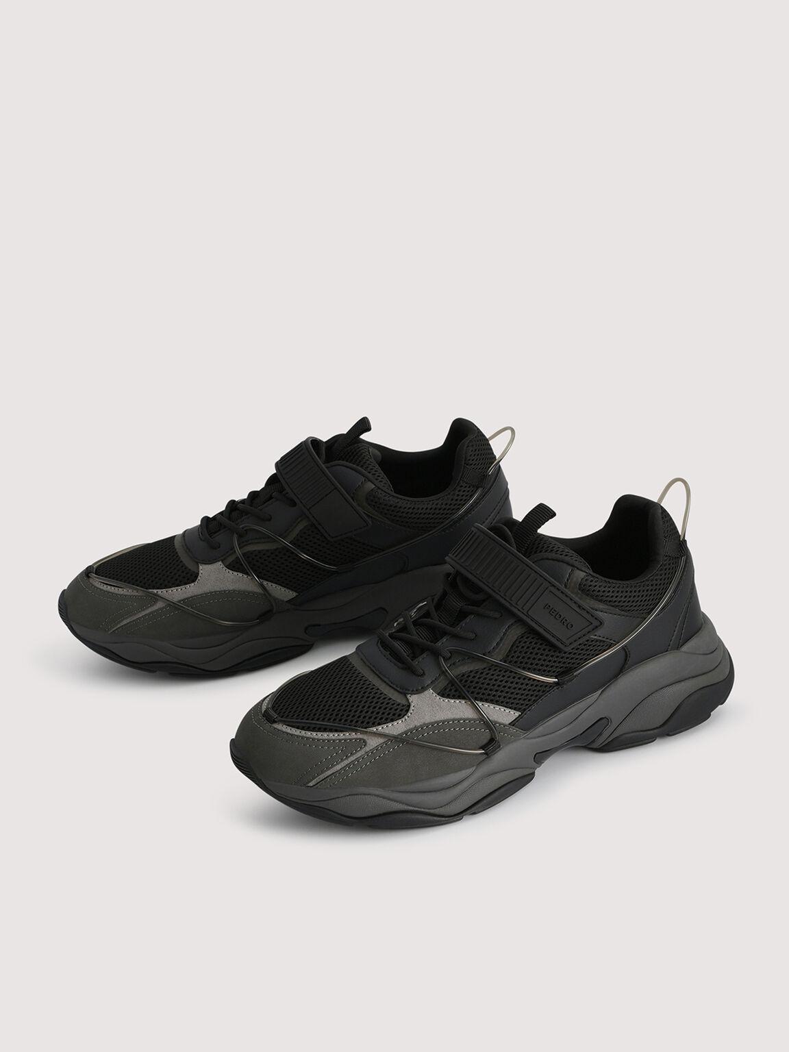Mesh Chunky Sneakers, Black, hi-res