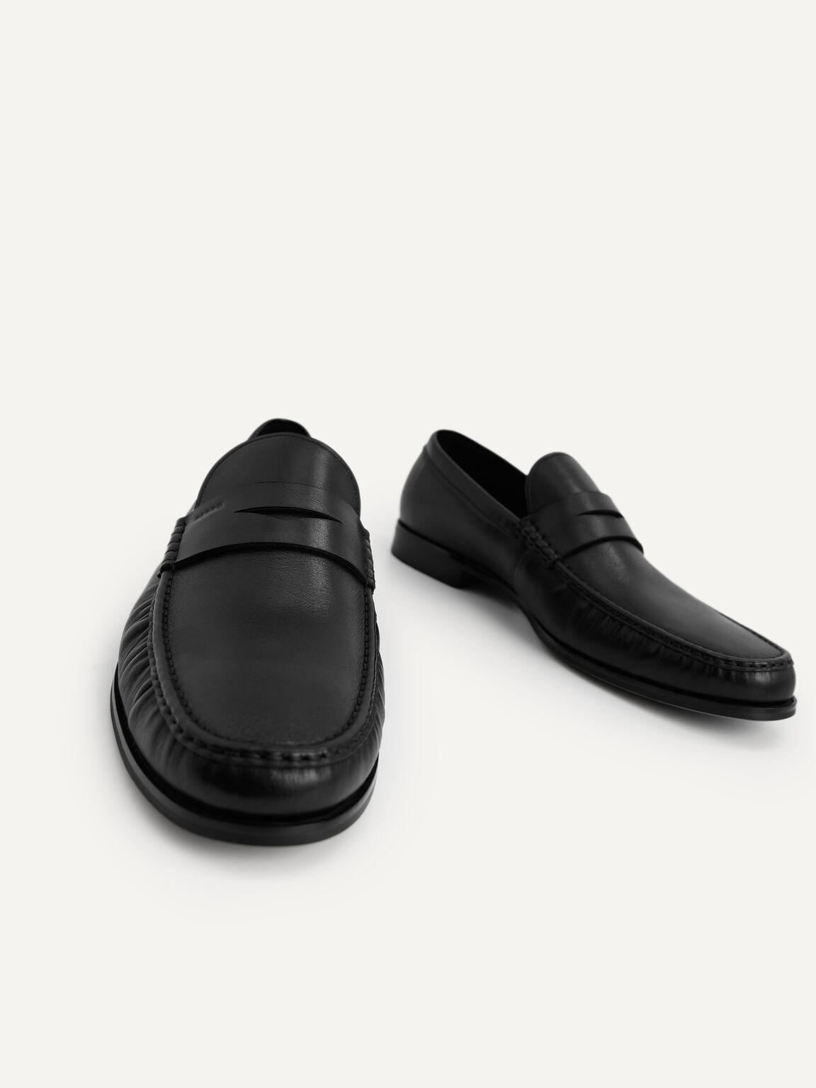 Leather Penny Moccasins, Black, hi-res